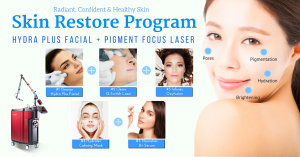 clear and radiant skin with laser and hydra facial